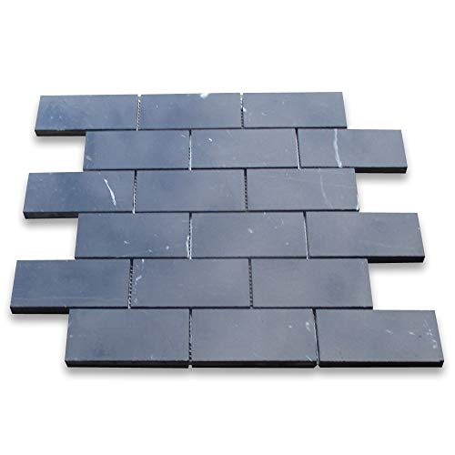 Stone Center Online Nero Marquina Black Marble Subway Brick Mosaic Tile 2
