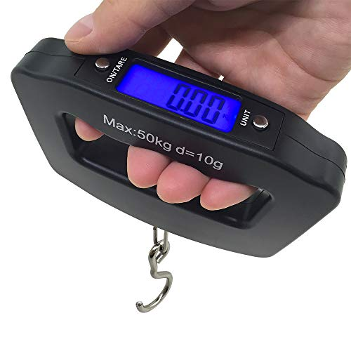 AFUNTA 50Kg/10g LCD Home Electronic Digital Portable Hanging Weight Hook Travel Luggage Scale