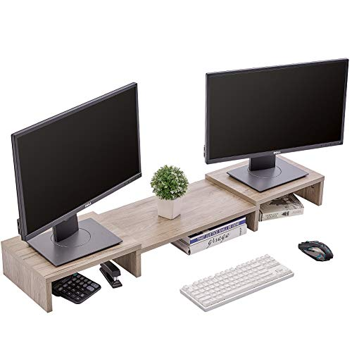 Superjare Updated Monitor Stand Riser Adjustable Screen Stand for Laptop Computer/TV/PC Multifunctional Desktop Organizer  Cream Gray