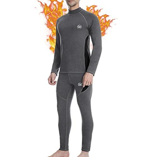 MEETWEE Thermounterwäsche Herren Funktionsunterwäsche Set,Skiunterwäsche Winter Suit Atmungsaktiv Lange Thermo Unterwäsche für Outdoor Jagd Running (Grau, XL)
