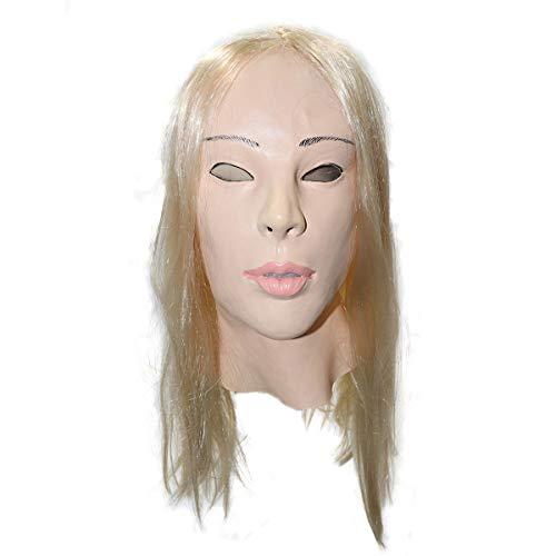 Hengyutoy Mask Realistische Weibliche Masken Frauenmaske mit Blonder Perücke für Karneval