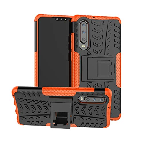 La selección de Cici Caso a Prueba de Golpes neumáticos Textura de TPU + PC for Huawei P30, con Soporte (Negro) (Color : Orange)