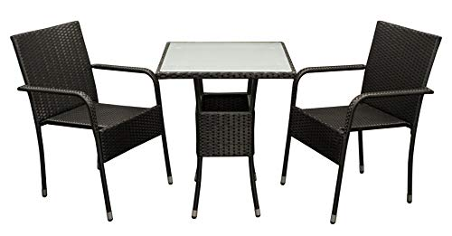 DEGAMO Bistroset PIENZA 3-teilig, 2X Stapelsessel und 1x Bistrotisch 60x60cm, Metall + Polyrattan schwarz, Tischplatte Glas