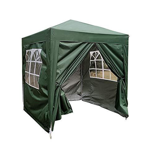 Tonnelle Tente de Réception Pliante Imperméable Pavillon du Jardin Extérieure Chapiteau Barnum Etanche PE Couvert, 2 x 2 m (Vert)