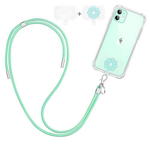 Dracool Handykette Universal Schlüsselband Umhängeband Halsband zum Umhängen Nylon Kompatibel mit iPhone 11 12 Pro Max 7 8 X XR Samsung Huawei Xiaomi & Mehr Smartphone - Grün