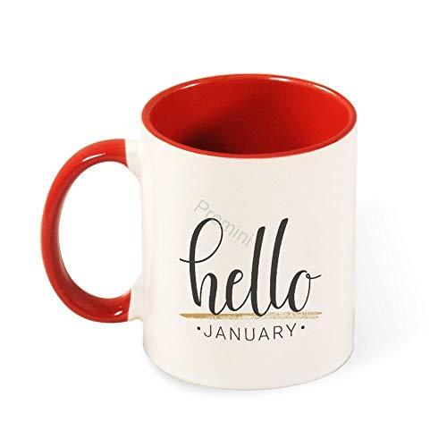 Promini Keramik Neuheit Becher, BJ-255 Hallo Januar Dekorative Tassen, Kaffeetasse, Bestes Geschenk FüR Familie/Freund, Einzigartiges Geburtstagsgeschenk, 11oz Zweifarbige Rote Tasse