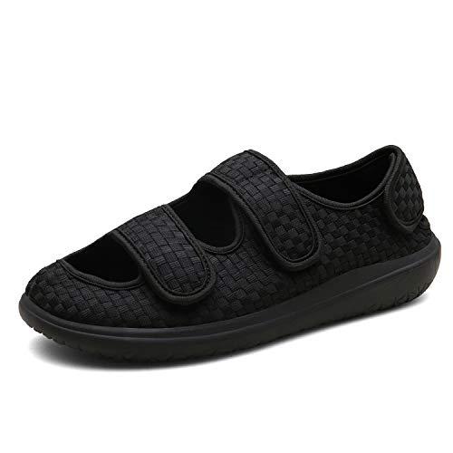 Sandalias Mujer Hombre Zapatillas de Estar por casa Zapatos Diabéticos Respirable Zapatillas Ortopédica para ensanchar Ajustable Cómoda Artritis Edema Zapatos hinchados Negro 39EU