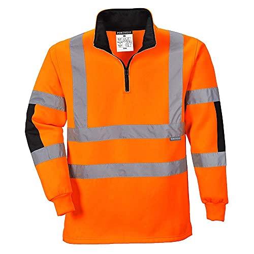 PORTWEST B308 - XENON Rugby Shirt, 1 Stück, M, Orange, B308ORRM