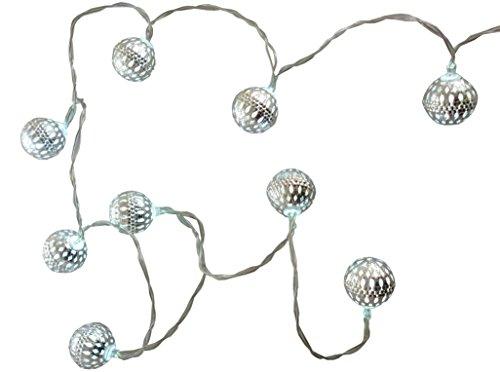Christmas Concepts 10 métal argenté Boule de lumières avec Del Blanches - 1.5m Longueur - fonctionnant sur Batterie