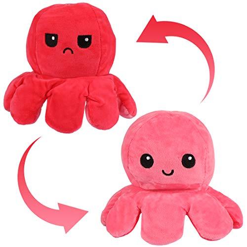 Zaloife Octopus Plüschtiere, Reversible Octopus Plush zum Wenden, Doppelseitige Flip Kuscheltier Octopus, Stofftier Octopus Spielzeug Geschenke für Kinder Mädchen Jungen Freunde