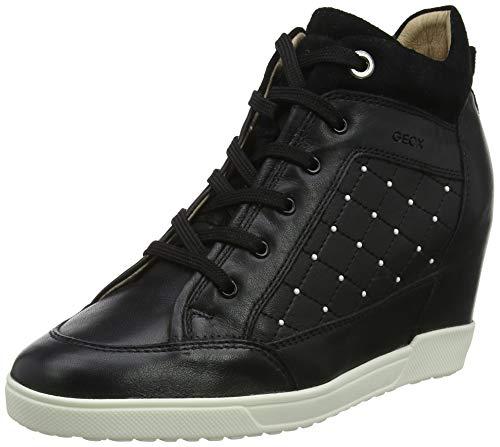 Geox Damen D CARUM C Hohe Sneaker, Schwarz (Black C9999), 37 EU