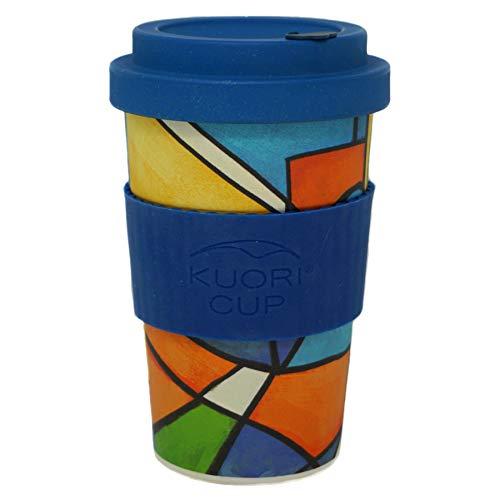 Bamboe Koffiebeker Lyrische Abstractie (Blauwe Deksel)