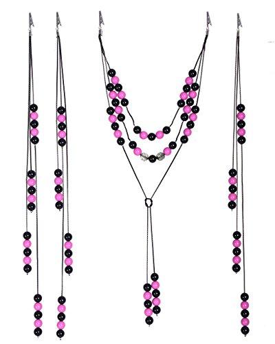 QHP Pferde-Schmuck Perlenschnüre für Mähne und Schweif Verschiedene Farben (Rosa/Schwarz)