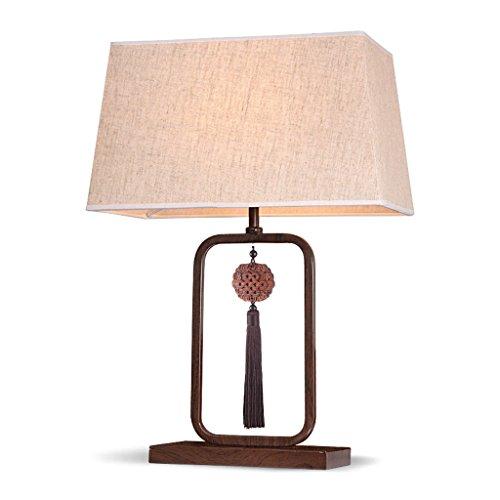 LEGELY Retro houten lampen, moderne en eenvoudige Chinese stijl, warme en creatieve carving tafellamp, studiebureau woonkamer restaurant slaapkamer bedlampje, E27, vlas