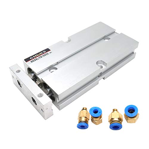 Sydien 16mm Bore 50mm Stroke Pneumatic Air Cylinder Double Action Double Rod with 4Pcs Straight Quick Fitting (TN16X50)