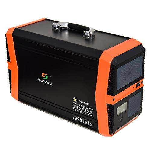 Portable Power Station 1000W, SUNGZU 1010Wh Outdoor Mobile Solar Generator Lithium Battery Backup Power Inverter with 2 110V AC Outlet, 2 DC, 4 USB for Camping Travel & Home Outages