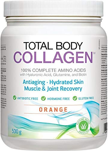 Total Body Collagen - Antiaging, Hydrated Skin, Muscle & Joint Recovery. 100% Complete Amino Acids with Hyaluronic Acid, Glutamine, and Biotin. Orange, 500g