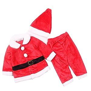 Lee Little Angel Navidad Franela Manga Larga Hermoso bebé niños Dress up Santa Traje de 3 Piezas Conjunto (1 Sombrero, 1 Chaqueta, 1 par de Pantalones) (80, Disfraces de Navidad)