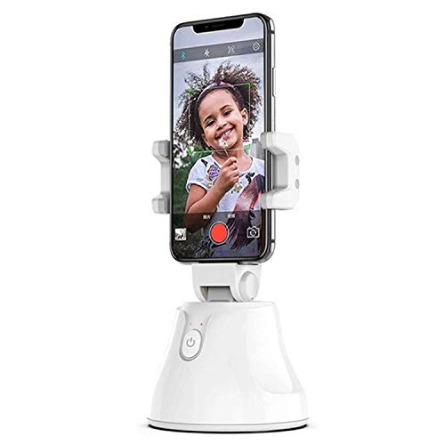 Portable All-in-one Smart Selfie Stick - 360° Rotating Auto Face and Object Tracking Phone Holder - Vlog Shooting Smartphone Holder - Personal Robot Cameraman - All Smartphones Compatibility (White)