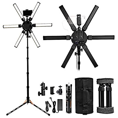 FOSOTO Photographic Lighting Dimmable 3200-5600K 6 Tubes LED Photography Star Light Lamp for Camera Photo Studio Phone Shooting, YouTube Makeup with Tripod Stand