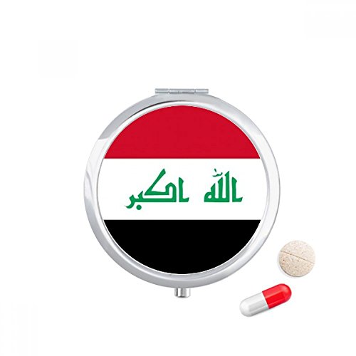 DIYthinker Irak Nationale Vlag Azië Land Reizen Pocket Pill case Medicine Drug Opbergdoos Dispenser Spiegel Gift
