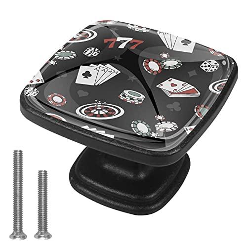 Vockgeng Manopole in Vetro Fiches per Poker con Effetti visivi 3D Maniglie per Porte Armadio comò cassettiere Design colorato (4 Pezzi) 3x2.1x2 cm