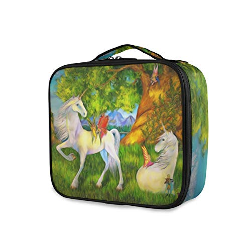 Cartoon World Forest Unicorns Butterfly Tools Cosmetic Train Case Travel Portable Toiletry Pouch Pockets Storage Makeup Bag