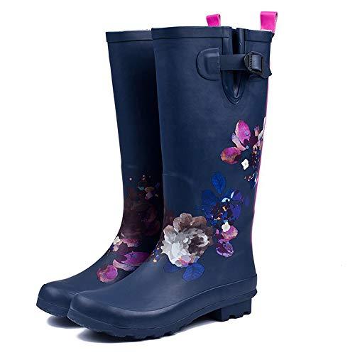 FREEUP Damen Wasserdicht Regen Gummistiefel Stiefel Verstellbare Schnalle und Slip-on-Neopren-Gummisohle,Blue,40EU