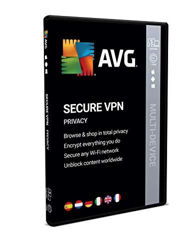 AVG Secure VPN   Mehrere Geräte   5 Geräte   1 Jahr   Box