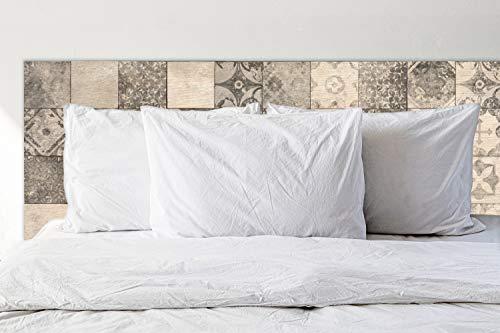 Deco&Fun - Cabecero Cama Madera Impreso Tile Grey 150x60cm para Cama de 135 y 150 - Medidas 100, 115, 150, 200 -Cabecero Original
