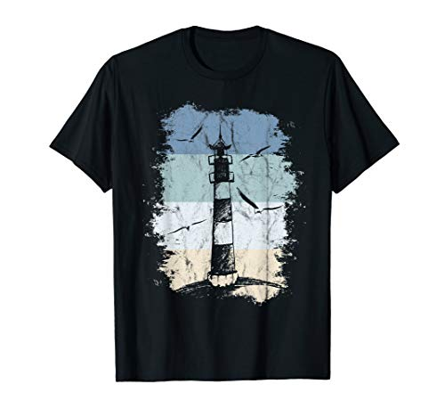 80er Retro Leuchtturm & Möwen Nordsee Ostsee Urlaub am Meer T-Shirt