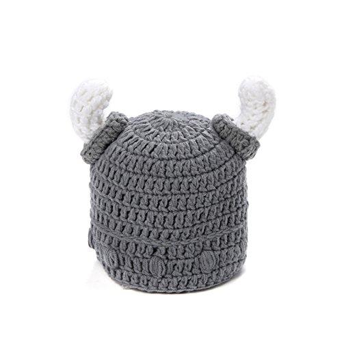 Ypser Cute Bull Horn Beanie Cap Hecho a Mano de Punto Viking Crochet Hats