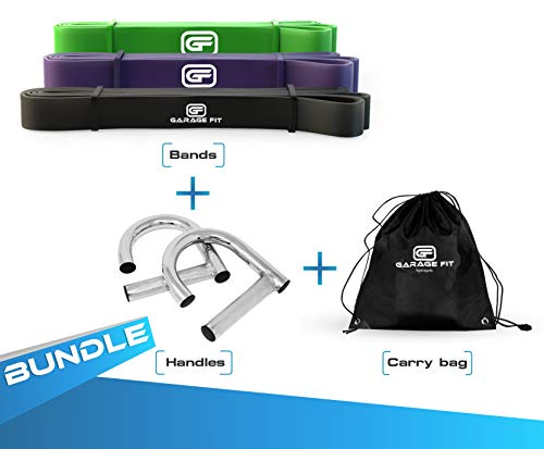 Garage Fit Pull Up Assist Band with Metal Handle and Carry Bag, Stretch Resistance Mobility Band - Powerlifting Bands - Extra Durable, Cross Training Exercise (Bundle5- #2 Black, 3 Purple, 4 Green)