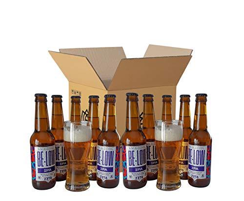 BELOW IPA SIN ALCOHOL - PACK DEGUSTACIÓN REGALO (10 x 33cl + 2 vasos) - Cerveza SIN ALCOHOL (0.65%...