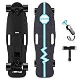 Electric Skateboard,32 Inch Complete Skateboard 8 Layer Maple Deck,E-Skateboard with Remote,350W Max 12.4 MPH,Adjustable Speed and Braking Cruiser Skateboards for Adults,Teens (Blue)