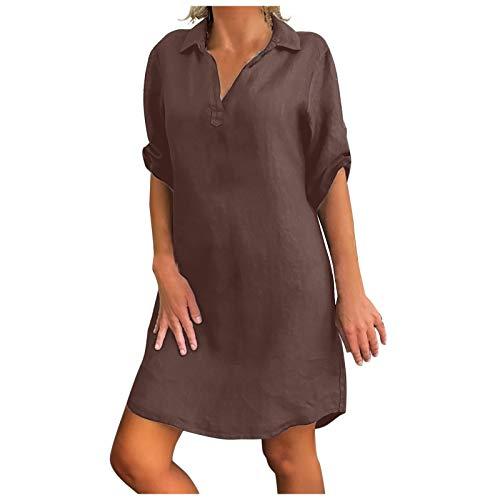 Kanpola Damen Kleider Leinenkleid Große Größen S-5XL,1/2 Ärmel Freizeitkleider Minikleider Sommer V-Ausschnitt Blusenkleid Leinen Dress...