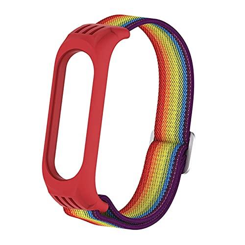 JINSHAO Pulsera elástica de Nylon para MI Band 6 5 STRUP Sport Sport PURSPLEABLE Mujer Mujer MI Band 4 3 Smart Watch Accessories Loop (Band Color : Rainbow, Band Width : Mi Band 3 4 5 6)