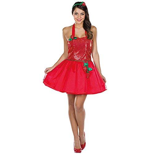 Rubie's Damen Kostüm Sexy Erdbeere Fraise Kleid rot Frucht Fasching Karneval (34)