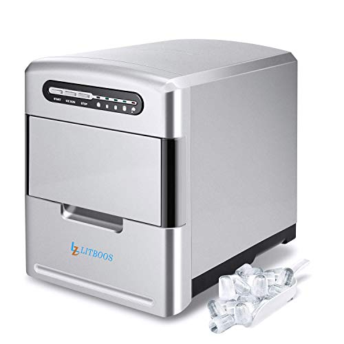 Portable Ice Maker Countertop, Makes 26 lbs Ice in 24 hrs-Ice Cubes Ready in 8-10 Mins,3 Ice Size Compact Electric Icemaker with Scoop and Basket for Parties Mixed Drinks