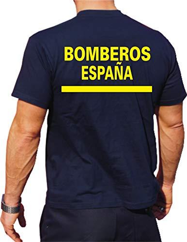 T-Shirt/Camiseta (Navy/Azul) Bomberos Espana, Fuente Amarilla, Bandera española M