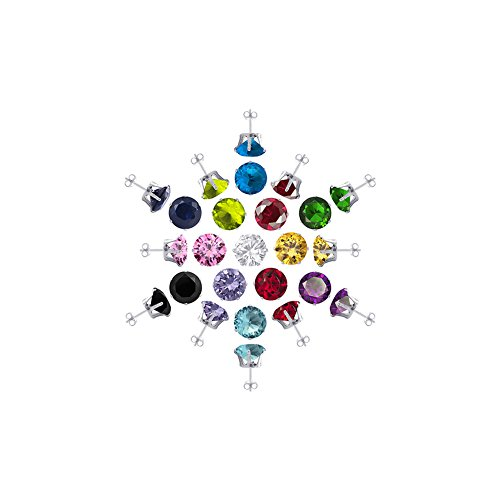 4mm Round Birthstone Post Back Sterling Silver Stud Earrings Set for 13 Colors