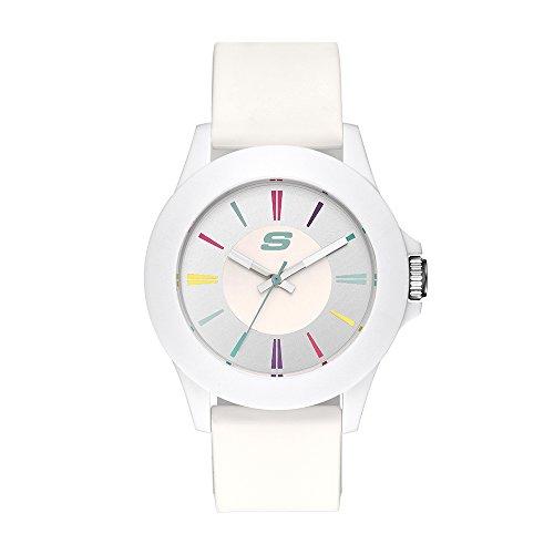 Skechers Women s Rosencrans Mid Three-Hand Silicone Quartz Watch, Color: White Multi (Model: SR6080)