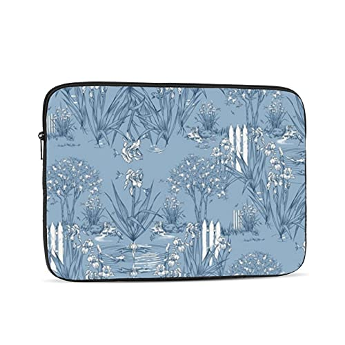 10-17 inch Laptop Case Sleeve Bag, Iris Pond Pattern Small Cottage Blue Navy White,Waterproof Neoprene Notebook Protective Case Compatible for Computer Tablet Lenovo, HP Envy, MacBook Pro, MacBook Air