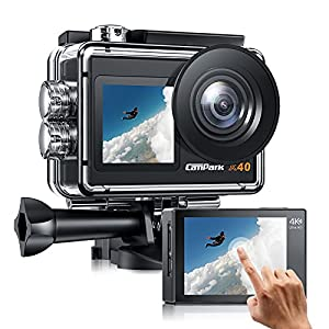【2021 Newest】 Campark X40 Action Camera 4K 20MP WiFi Dual Screen Underwater Camera 40M Waterproof Vlog Camera with Touchscreen EIS Remote Cotrol Sports Camera with 2x1350mAh Batteries