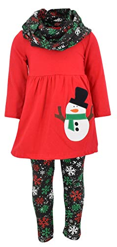 Unique Baby Girls Christmas Snowman 3 Piece Winter Outfit (7/XXL, Red)