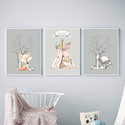 Lienzo de pared Flor Animal Lienzo Pintura Animales del bosque Cartel Nórdico Zorro Ciervo Carpa Imagen Habitación de bebé Arte de la pared Imágenes Impresiones de guardería 40x50cmx3 Sin marco
