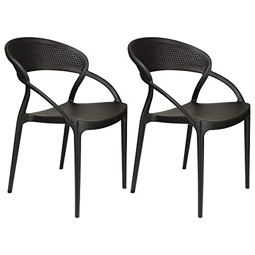 Totò Piccinni Sedie ETERNITY in Polipropilene Moderne Design Impilabili (Nero, 2 Pz)