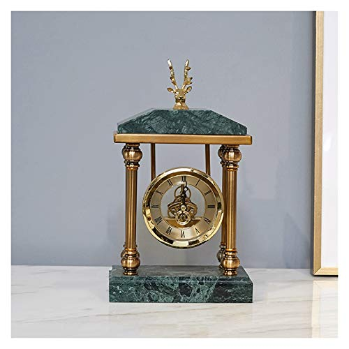 Xiaokeai Números Romanos Reloj de Escritorio de un Lado Retro Manta de Manta Mantel Reloj Batería Desktop Decoration Reloj de Mesa 11.8 Pulgadas