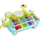 ACAMPTAR Kit de Batería para Ni?os 3 en 1 Teclado de Piano Xilófono Juguete Instrumentos Musicales Juguetes de Aprendizaje