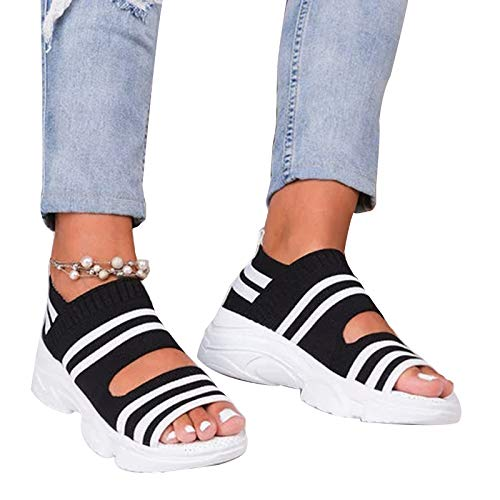 Acutty Woman Platform Sandals, Slip On Shoes Anti-slip Walking Knitting Sock Sneakers Thick Bottom Platform Sandals Shoes Women Summer Casual Strappy Wedge Sandals Closed Toe Shoes
